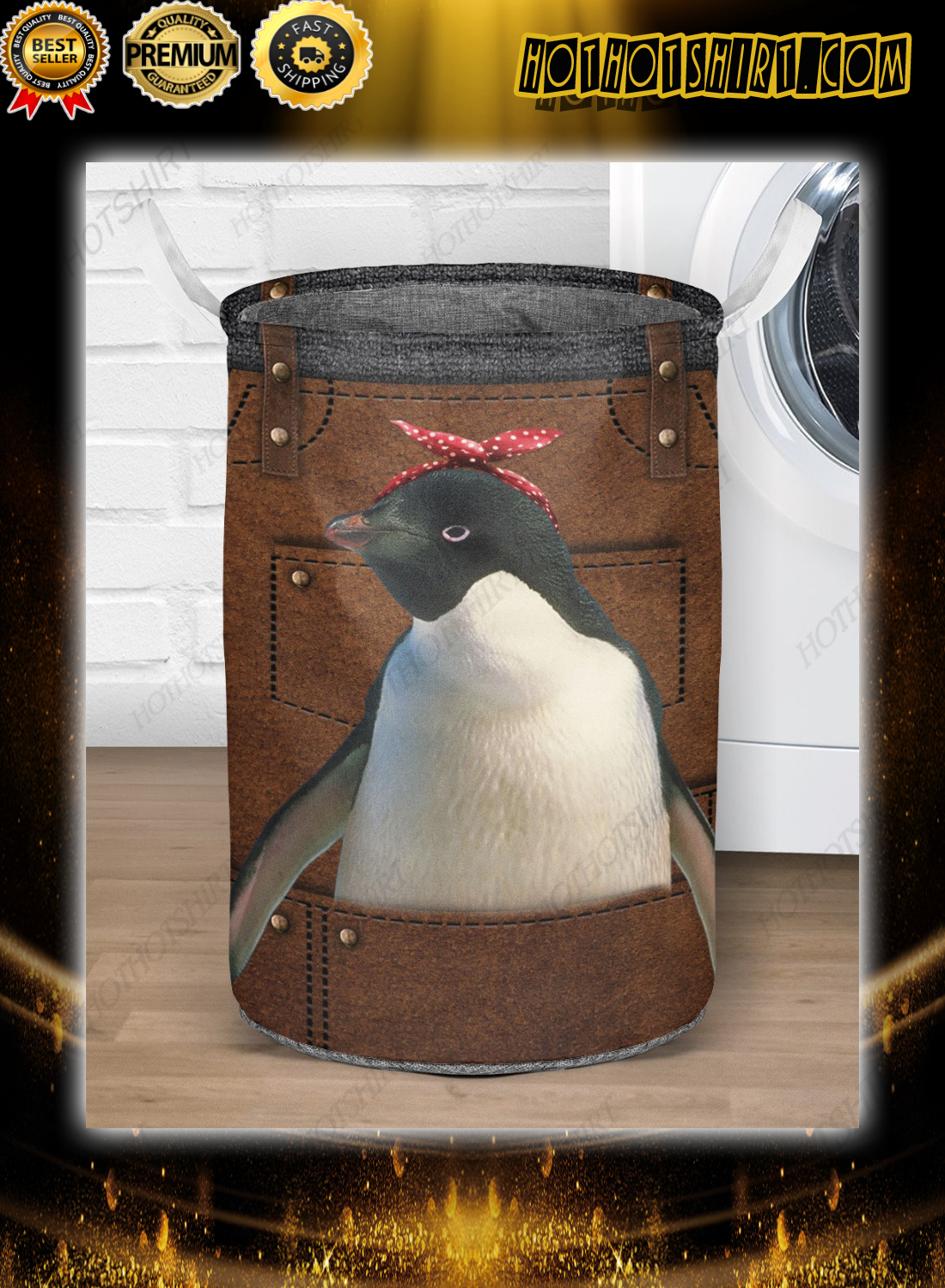 Cute apron for penguin lover Laundry Baskets 1