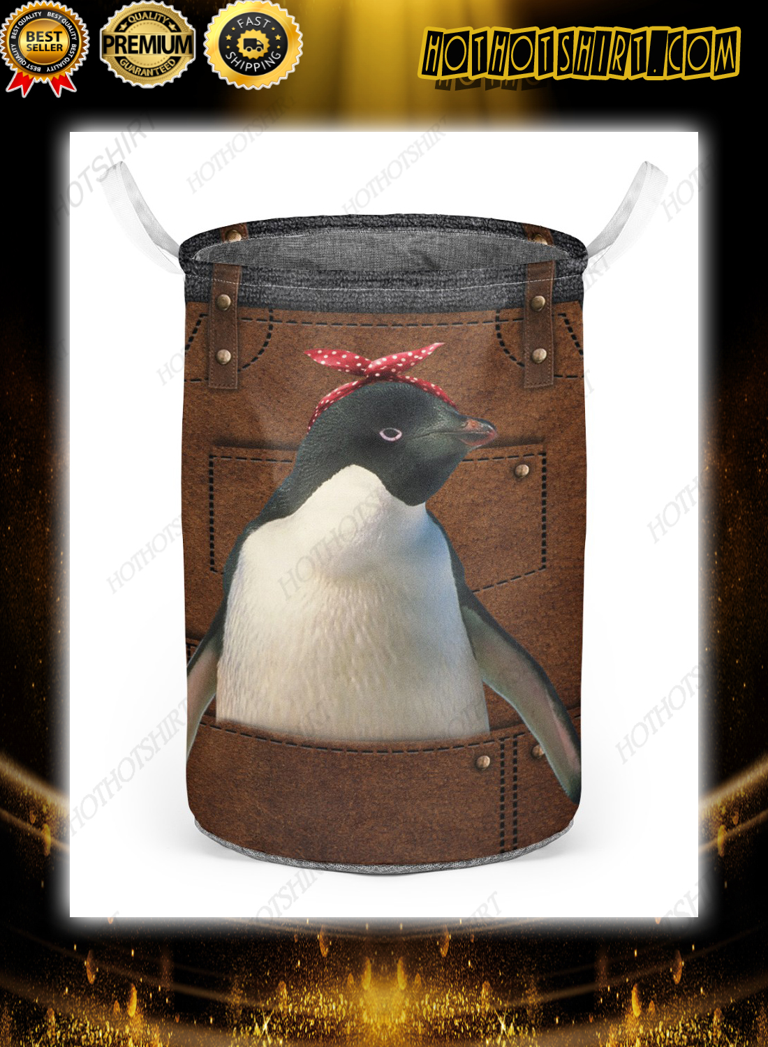 Cute apron for penguin lover Laundry Baskets 2