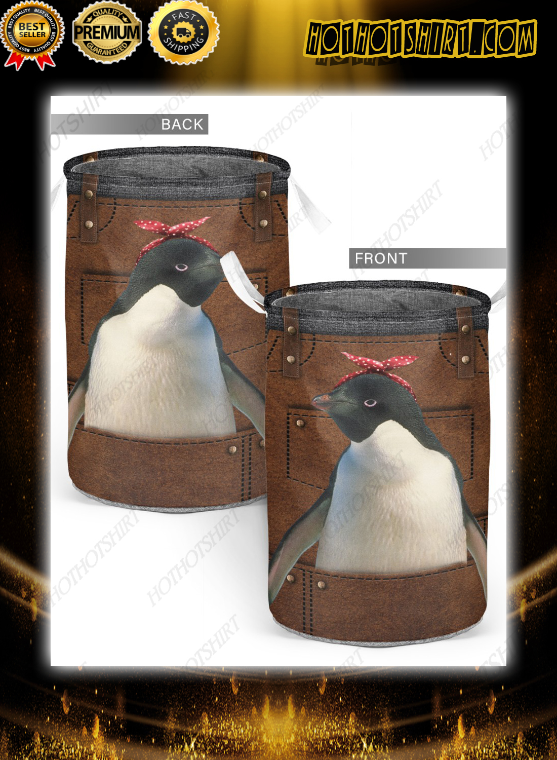 Cute apron for penguin lover Laundry Baskets