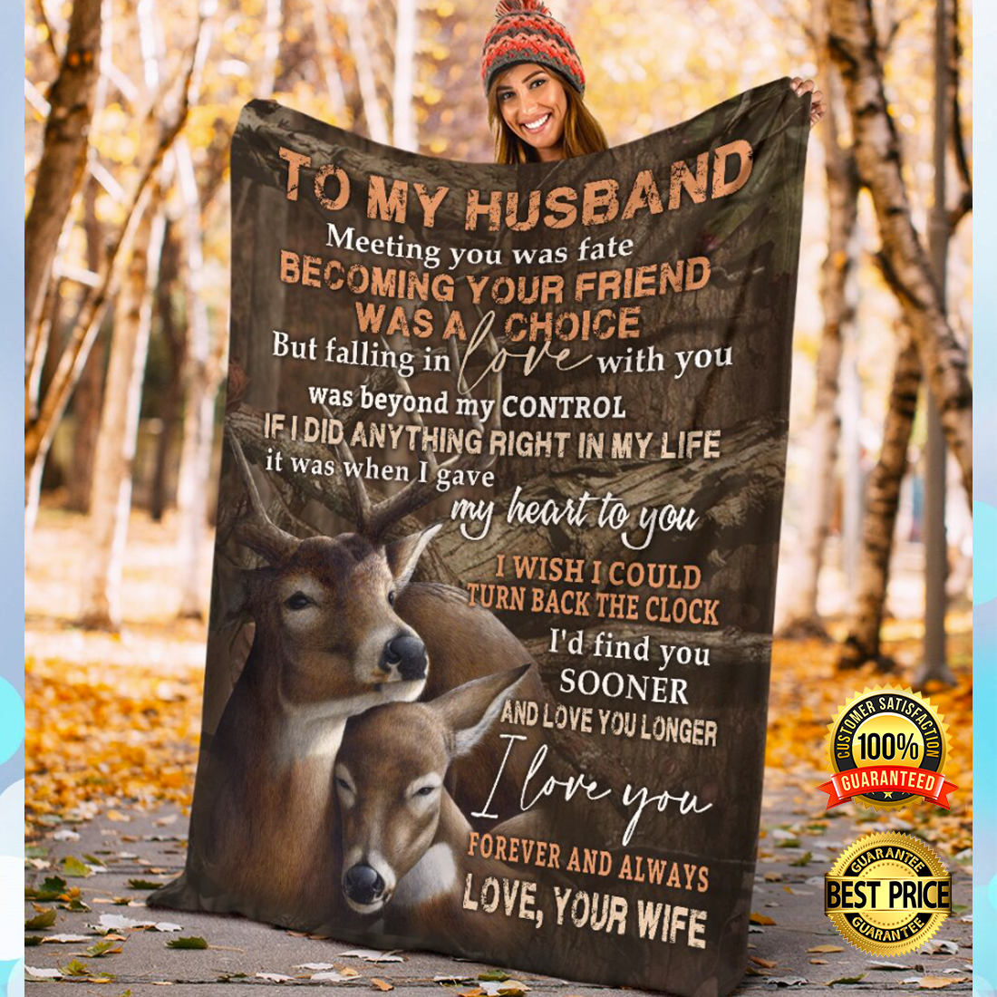 Deer couple to my husband meeting you was fate becoming your friend was a choice blanket 4