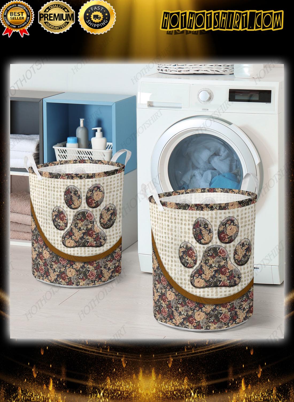 Dog paw floral vintage laundry basket 2