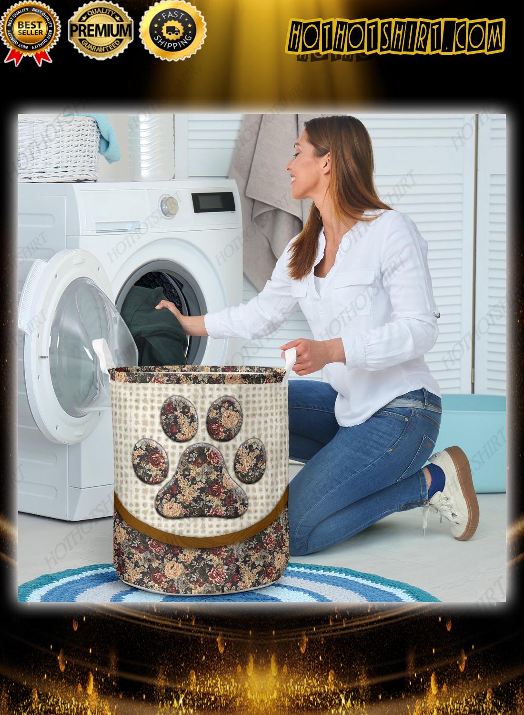 Dog paw floral vintage laundry basket 3
