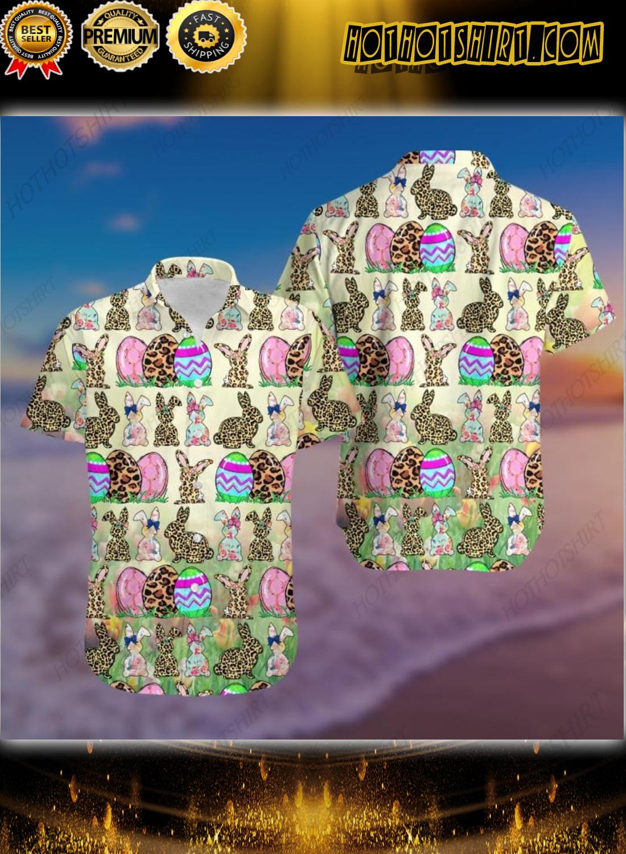 Easter Day Bunny Leopard Eggs Green Hawaiian Shirts