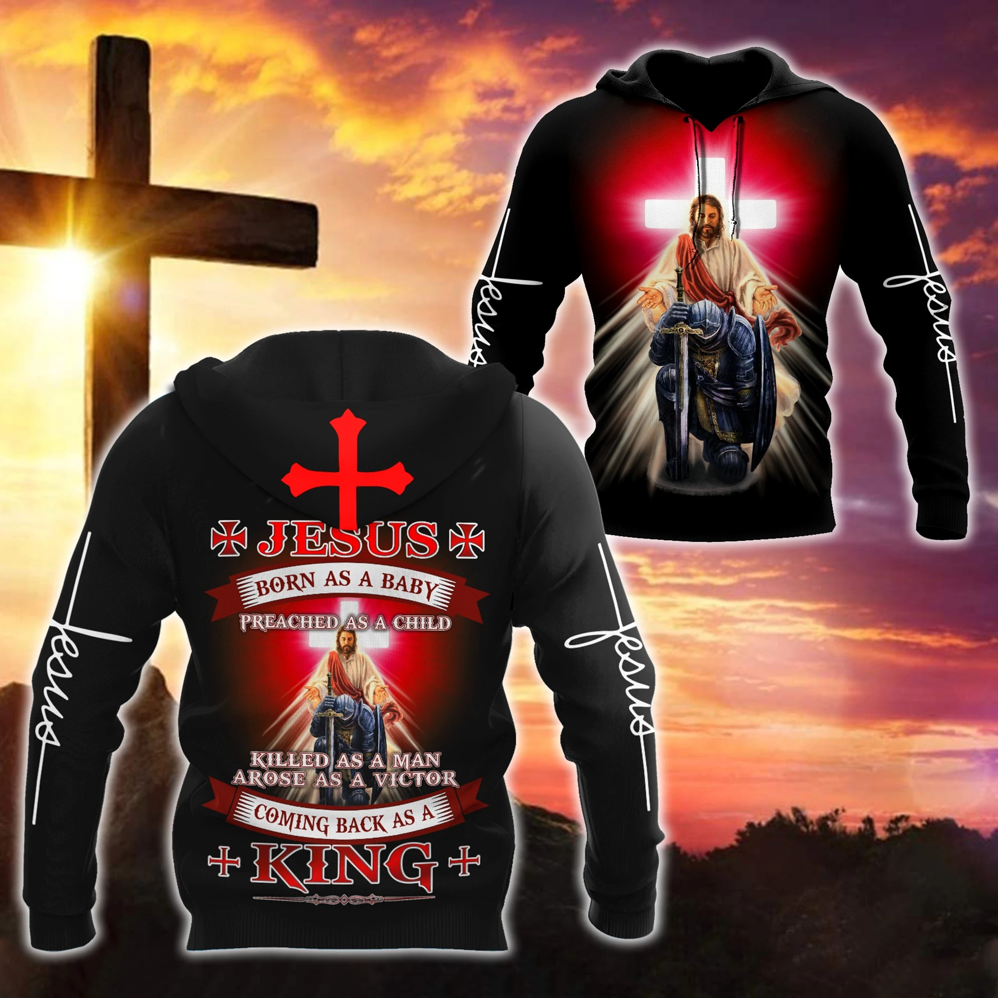 Easter Jesus born as a baby coming back as a king 3d all over printed hoodie