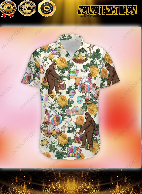 Happy Easter Bunny Bigfoot Hunting Eggs Hawaiian Shirt 1