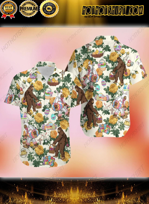 Happy Easter Bunny Bigfoot Hunting Eggs Hawaiian Shirt