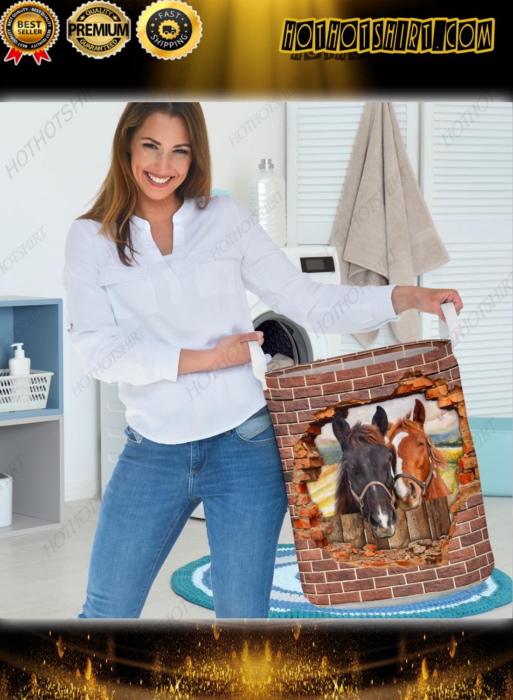 Horse hole brick wall laundry basket 1