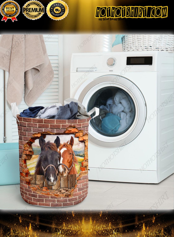 Horse hole brick wall laundry basket