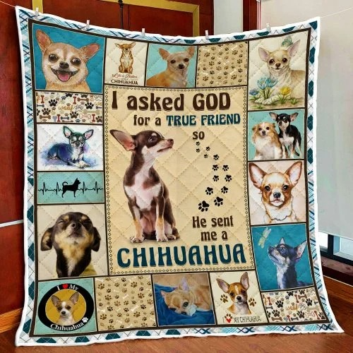 I asked god for a true friend so he sent me a Chihuahua quilt blanket