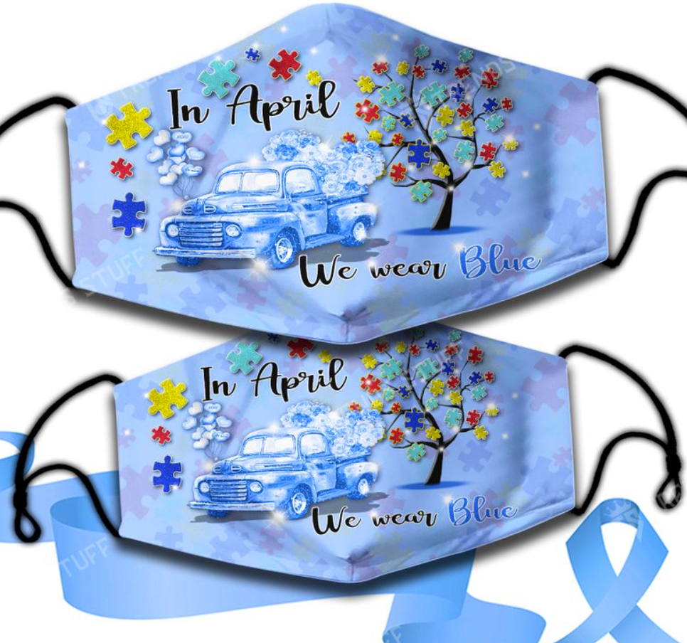 In April we wear blue face mask