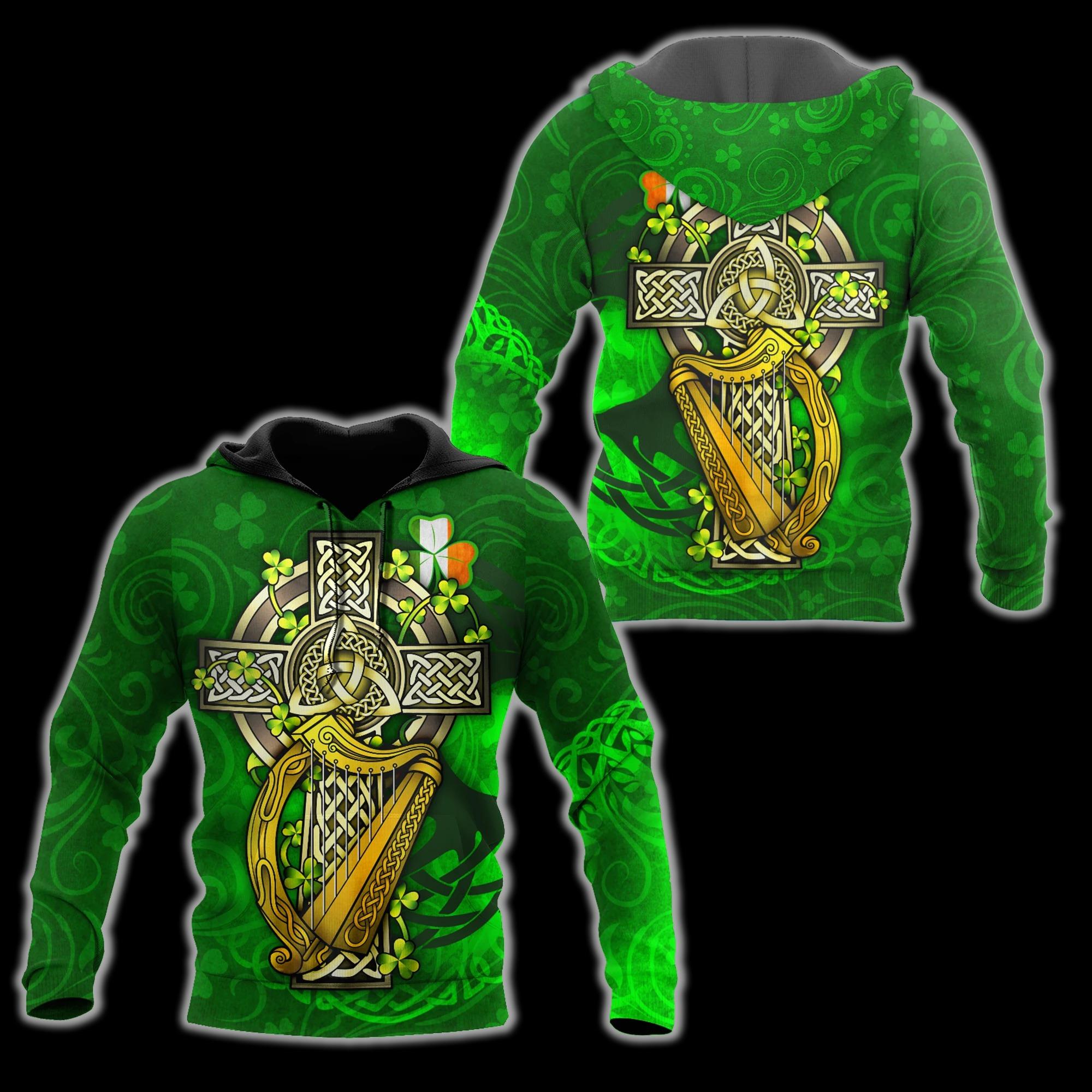 Irish Harp 3D All Over Printed Hoodie And Shirts