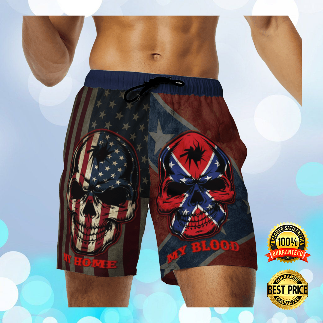 My home my blood southern american flag beach short 4