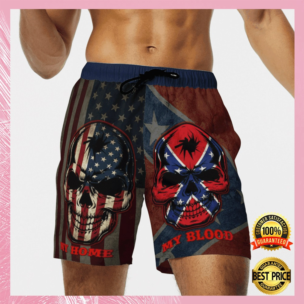 My home my blood southern american flag beach short1