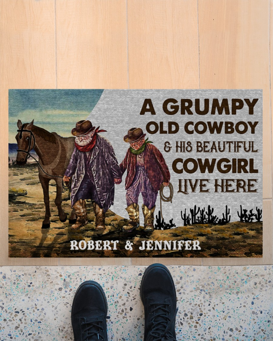 Personalized A grumpy old cowboy and his beautiful cowgirl live here doormat