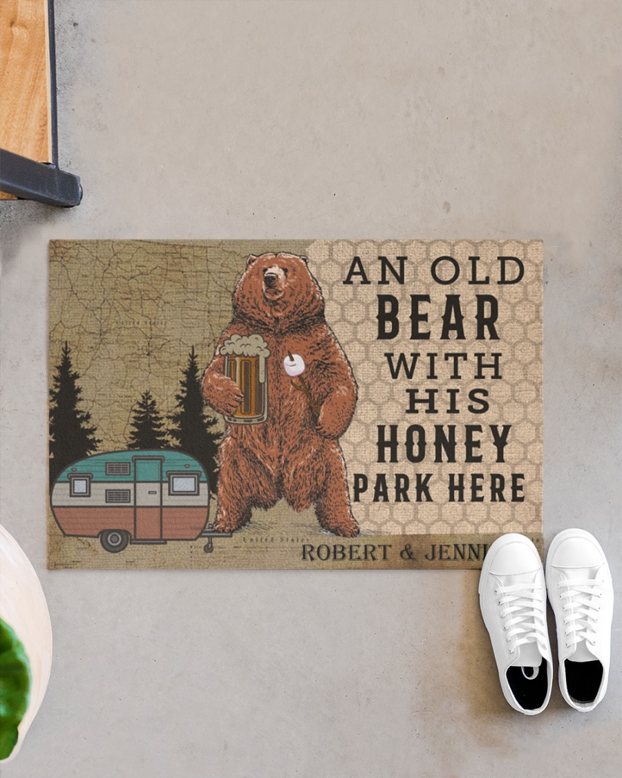 Personalized Camping an old bear with his honey park here doormat