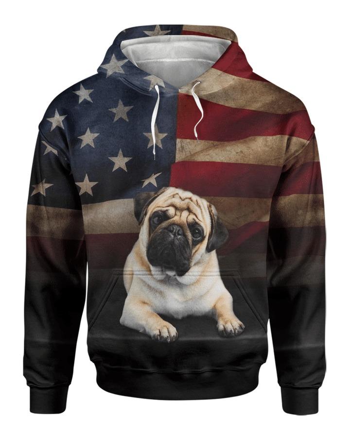 Pug dog american flag 3d All over printed Hoodie Shirt 1