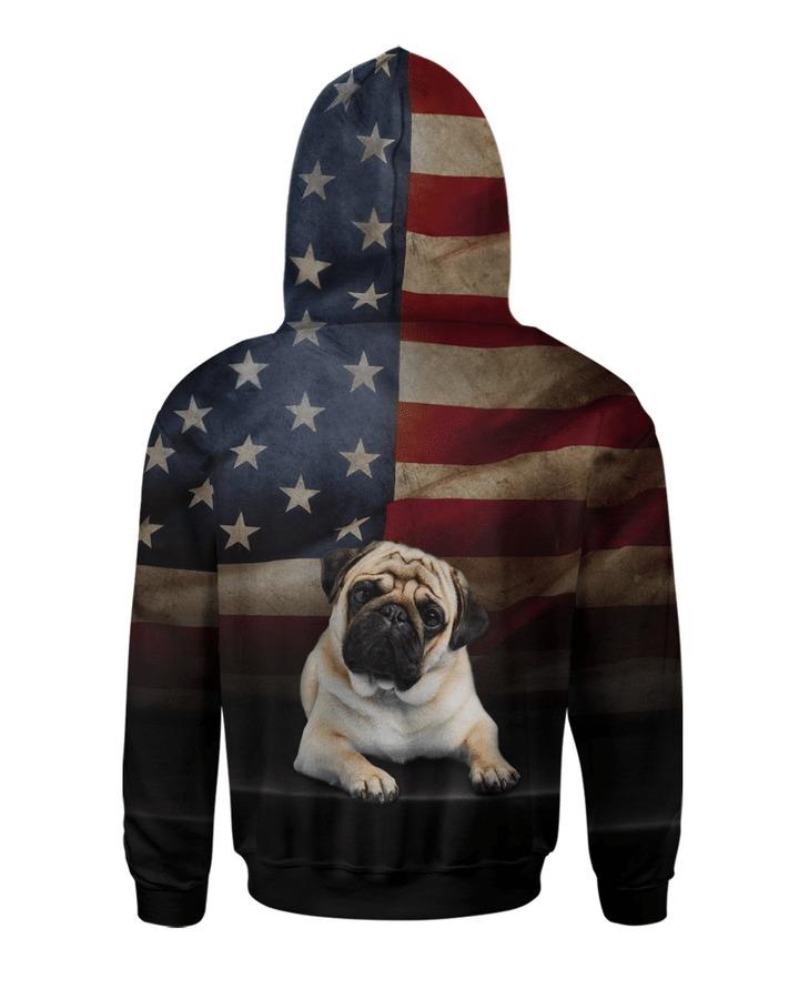 Pug dog american flag 3d All over printed Hoodie Shirt 2