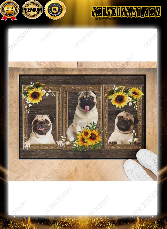 Pug sunflower doormat 1