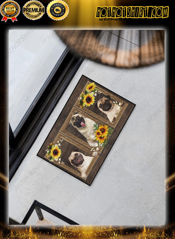 Pug sunflower doormat 2