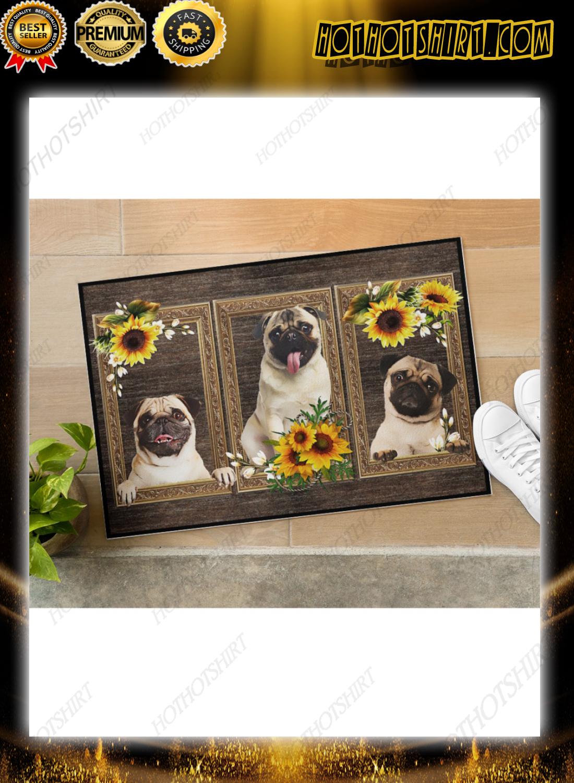 Pug sunflower doormat 3