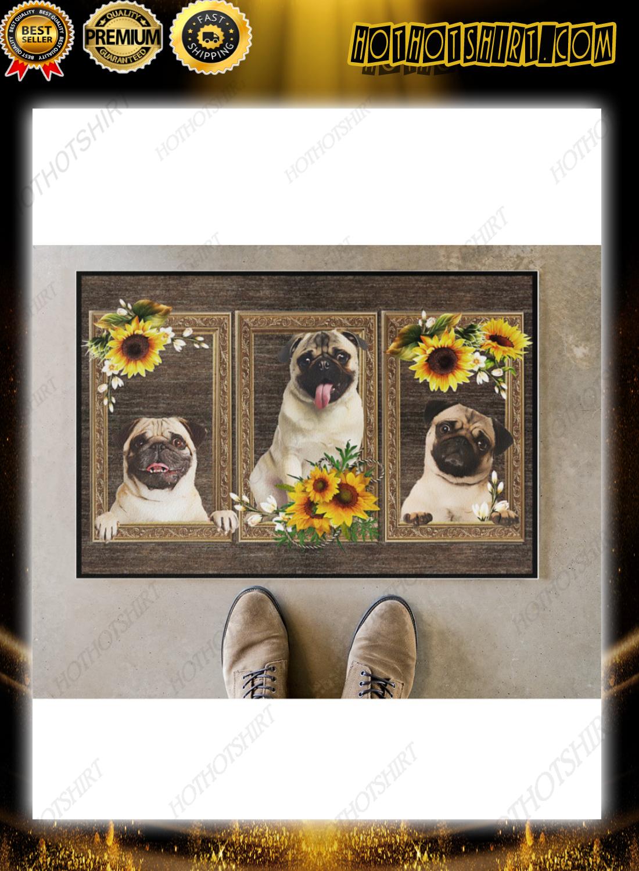 Pug sunflower doormat
