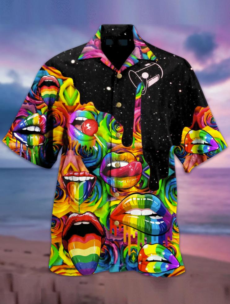 Rainbow lips hawaiian shirt