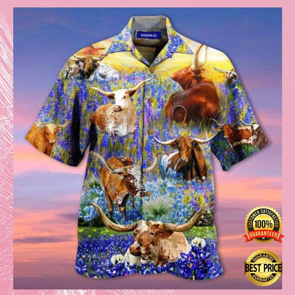 Texas Longhorn In Bluebonnets hawaiian shirt1