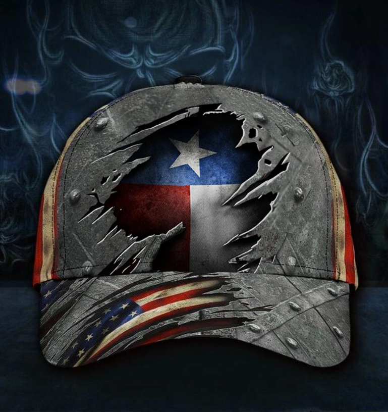 Texas state and American flag cap