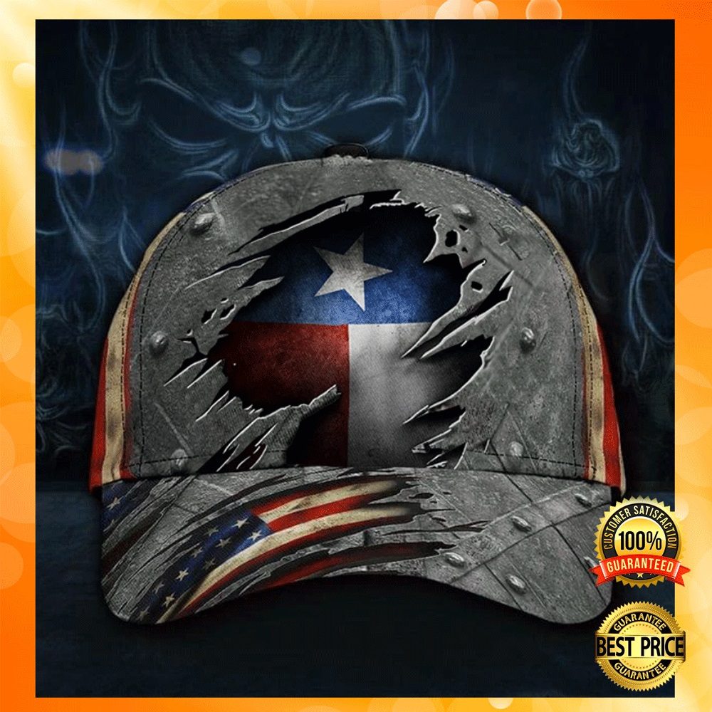 Texas state and American flag cap1
