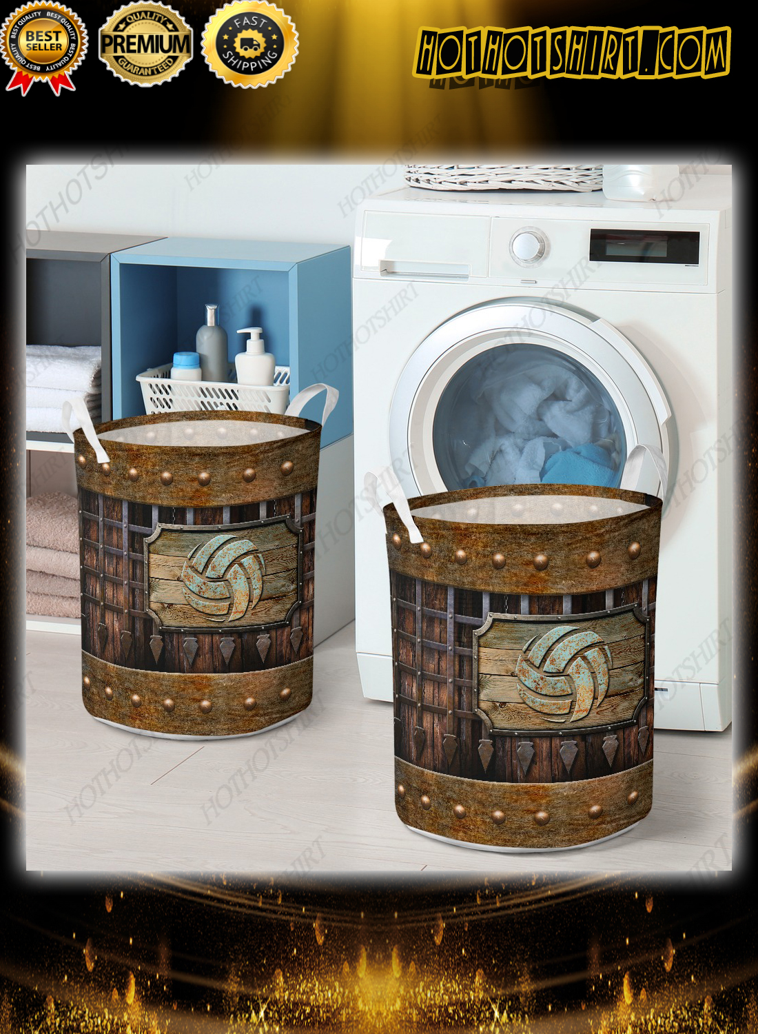 Volleyball sport grunge metal style laundry basket 1
