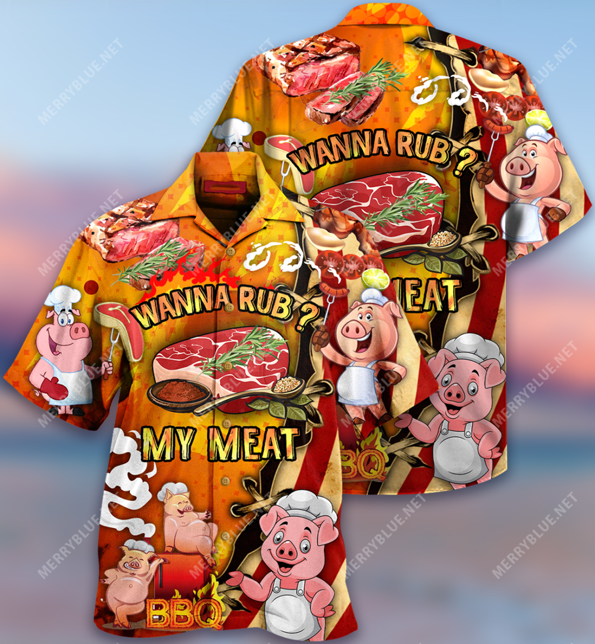 Wanna rub my meat funny barbecue hawaiian shirt