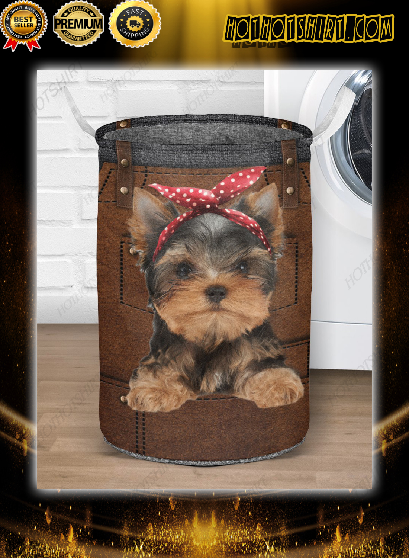 Yorkshire Terrier cute apron Laundry Baskets 1
