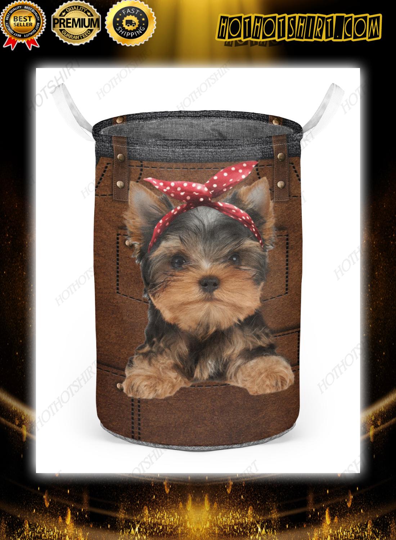 Yorkshire Terrier cute apron Laundry Baskets 2