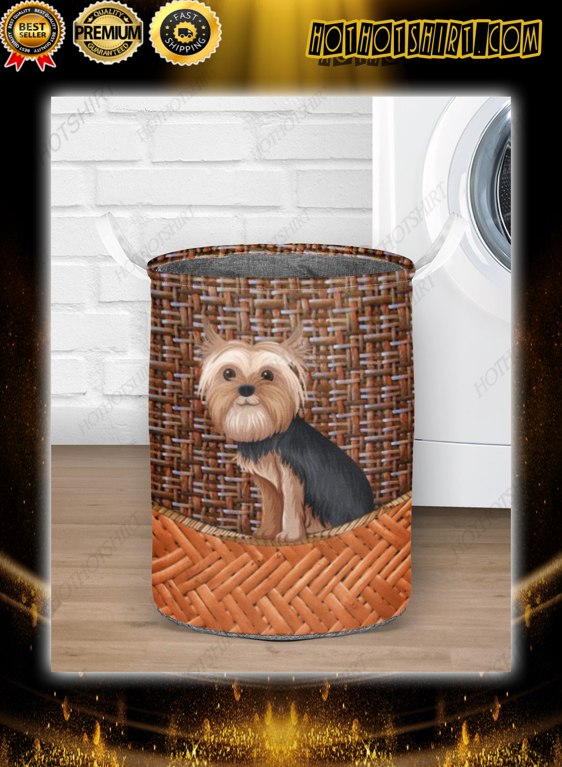 Yorkshire terrier bamboo laundry basket 1