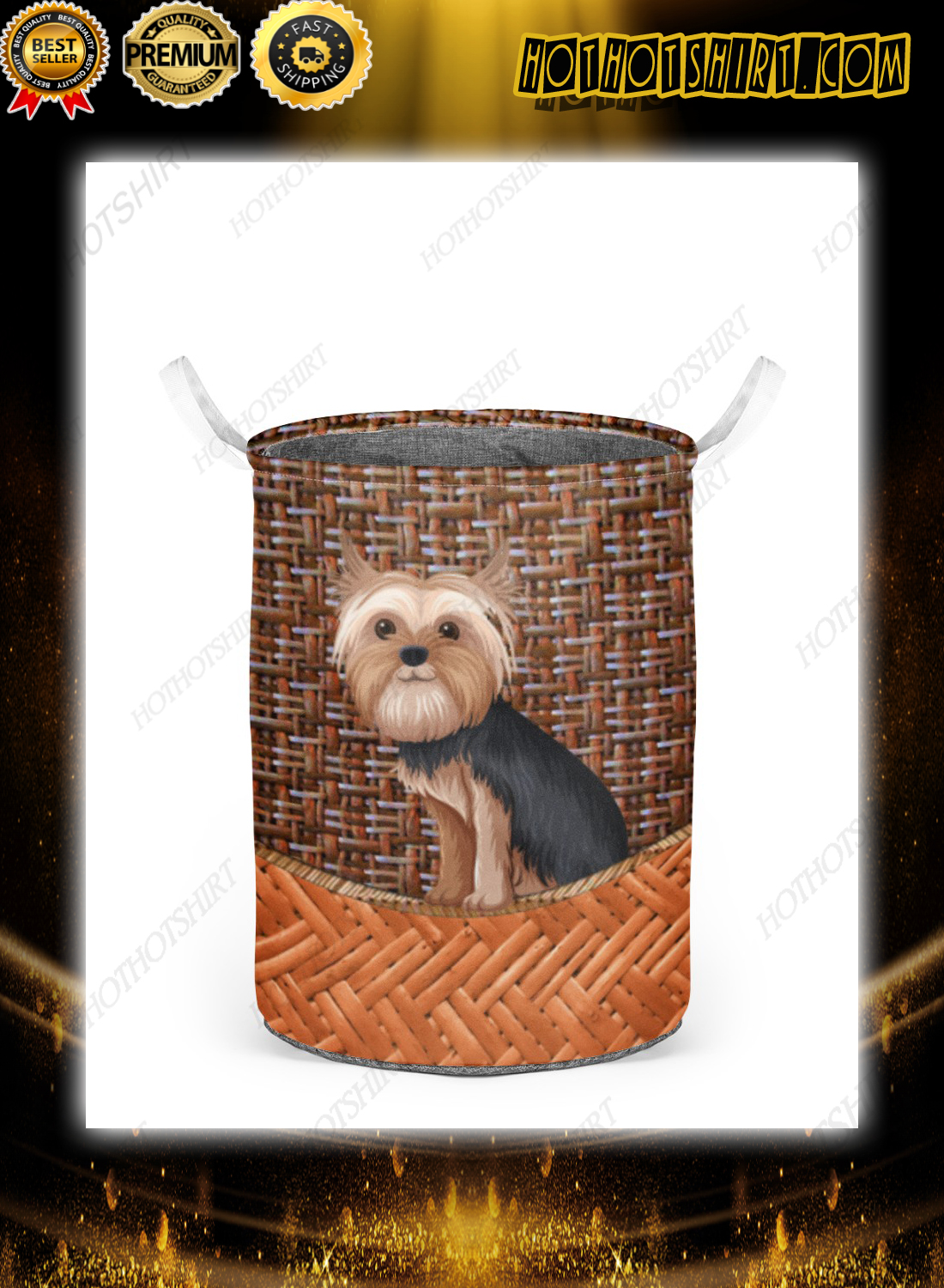 Yorkshire terrier bamboo laundry basket 2