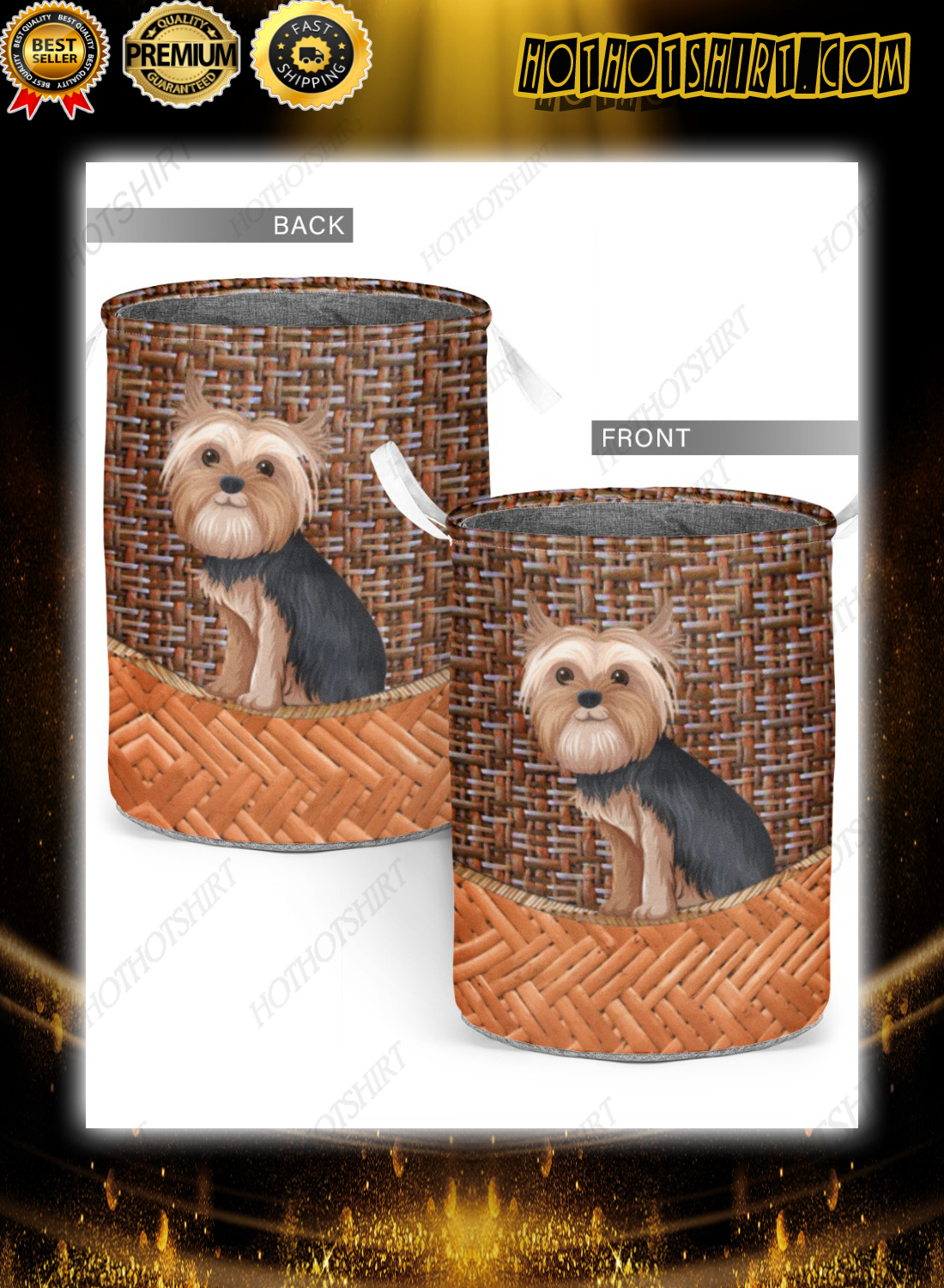 Yorkshire terrier bamboo laundry basket