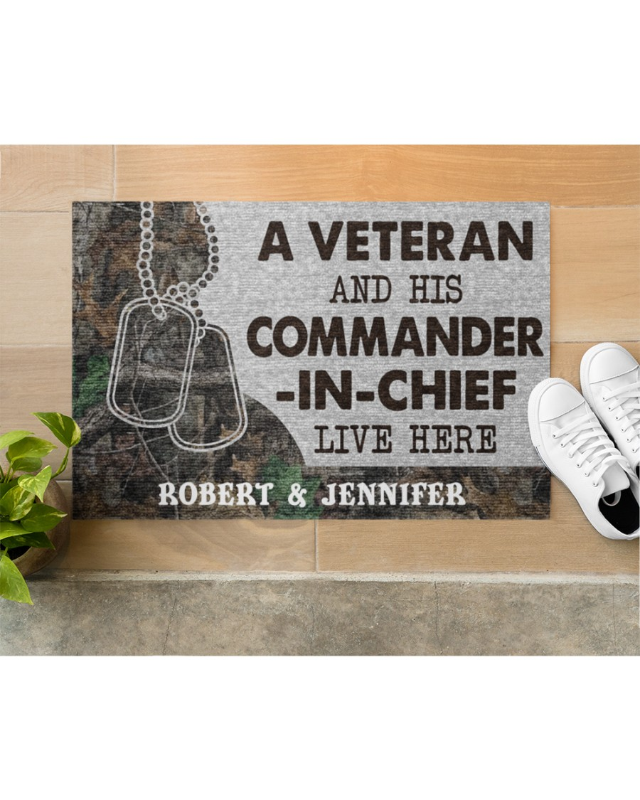 A veteran and his commander in chief live here personalized custom name doormat