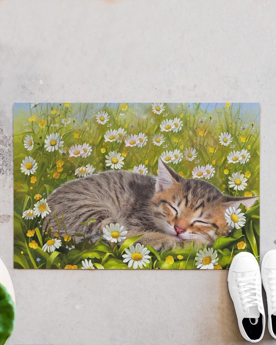 Cat sleeping on flower garden doormat Picture 2