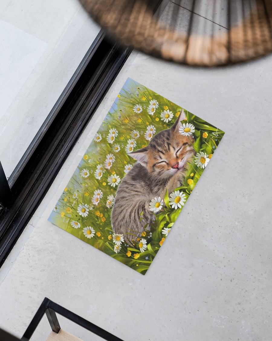 Cat sleeping on flower garden doormat Picture 3