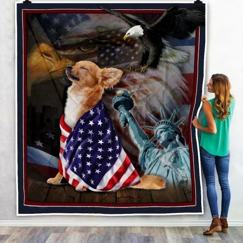 Chihuahua American patriot quilt blanket