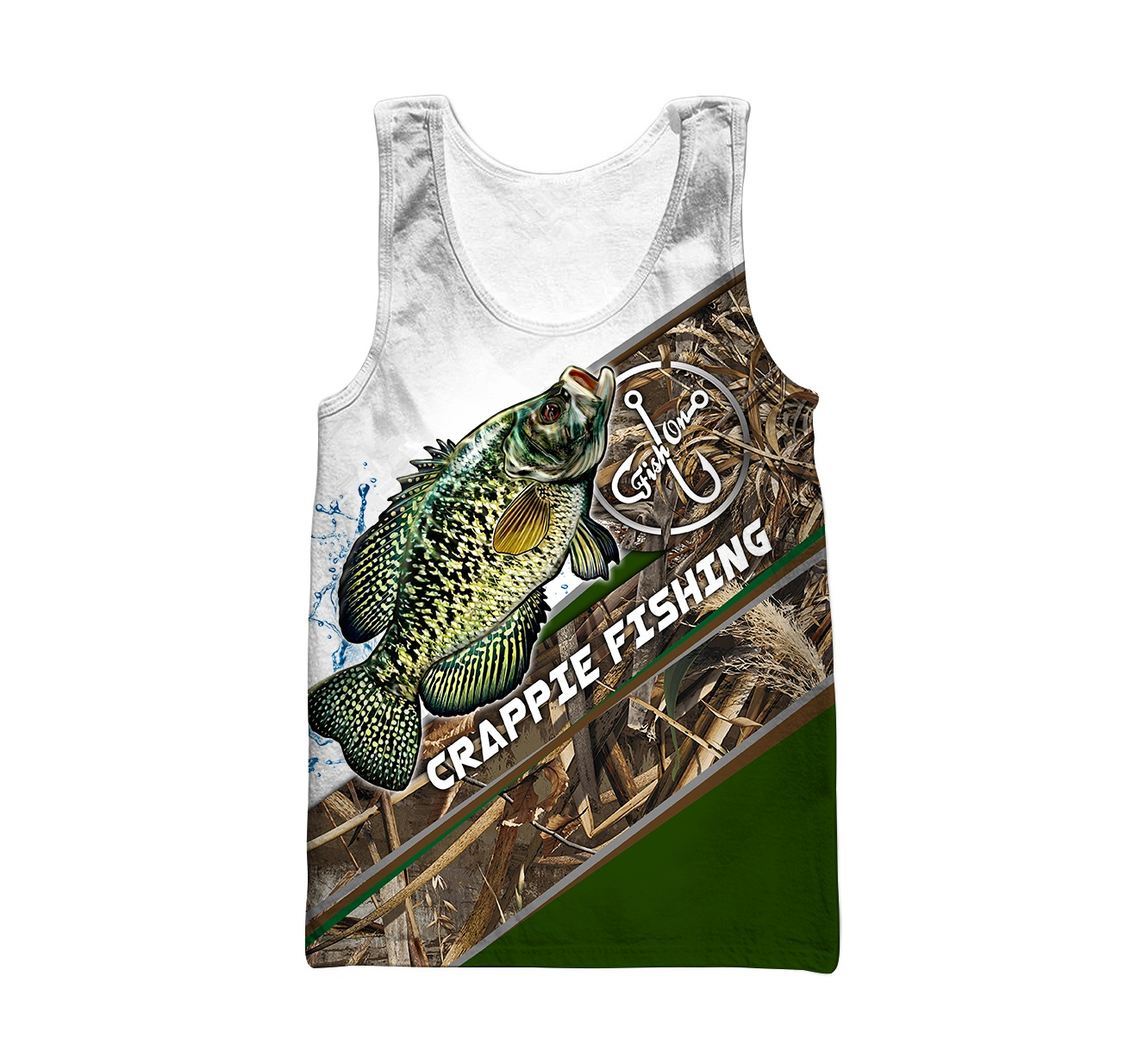 Crappie fishing camo personalized custom name 3d tank top