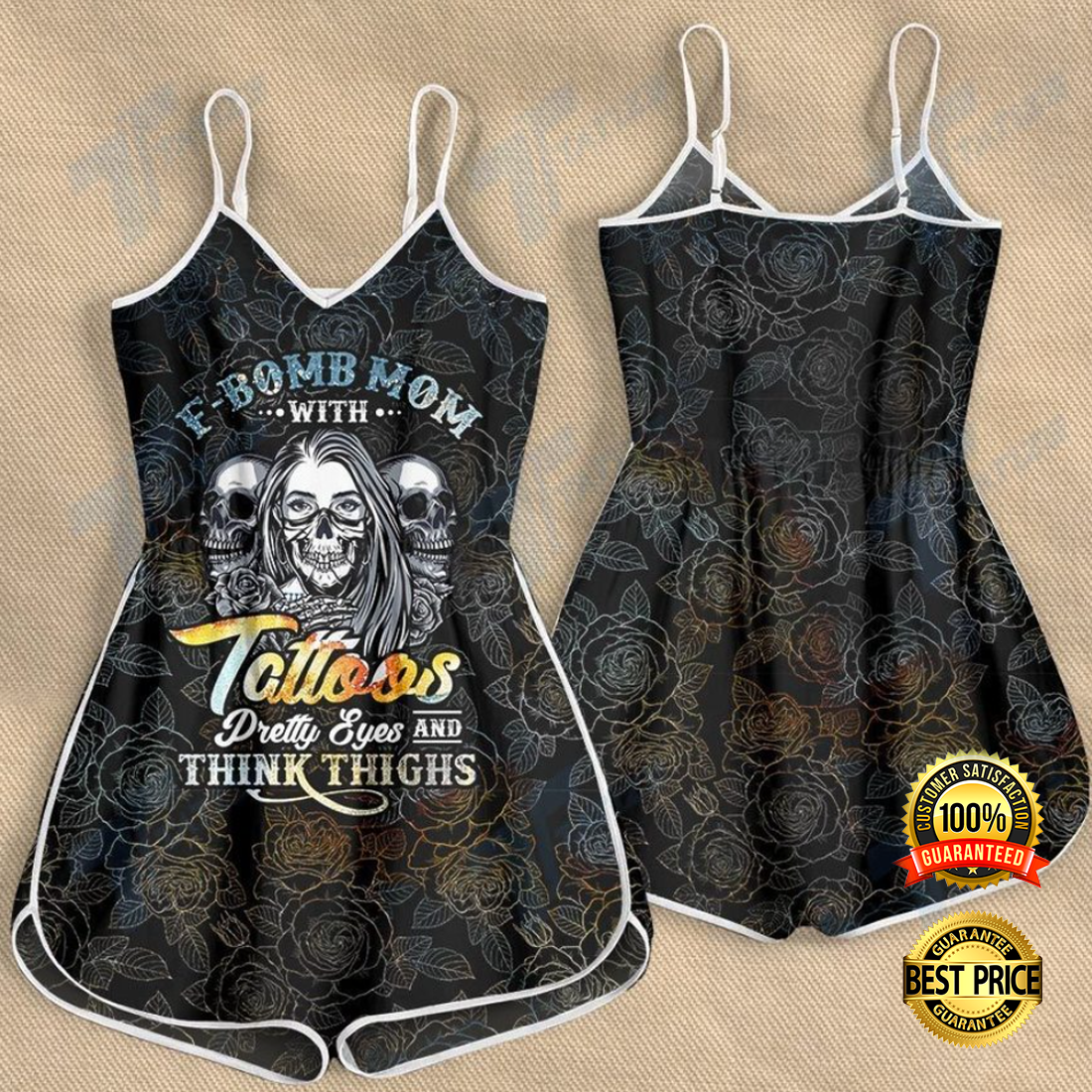 F bomb mom with tattoos pretty eyes and thick thighs romper 4 1