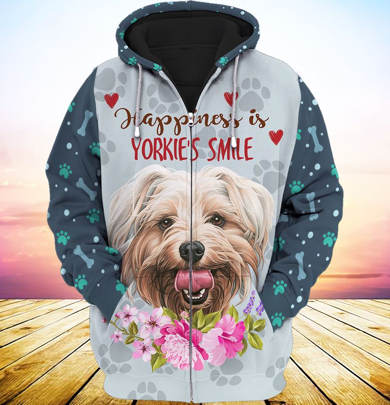 Happiness is yorkshires smile 3d full print hoodie 1
