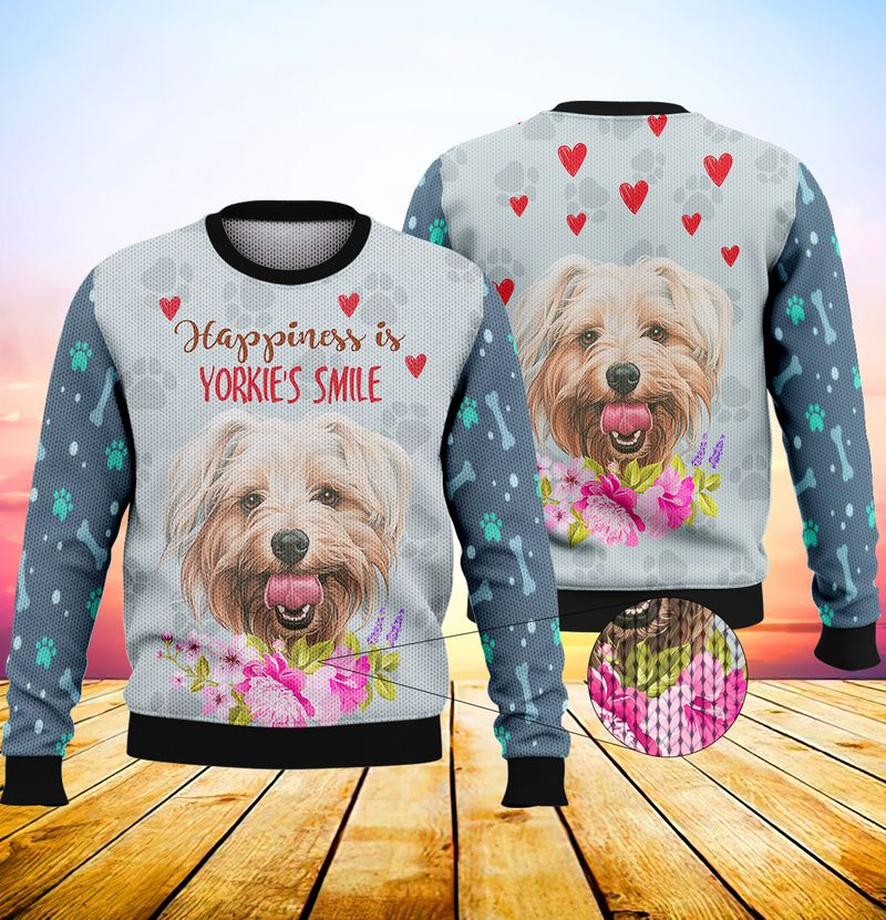Happiness is yorkshires smile 3d full print hoodie 2
