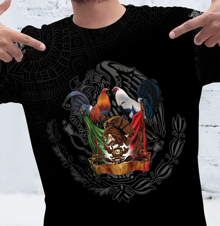Mexico Flag Rooster 3D Shirt 1