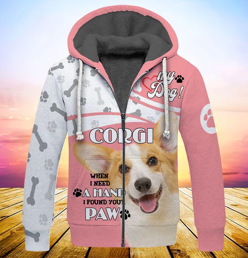 My dog corgi when i need a hand i found your paw 3d full print hoodie 5