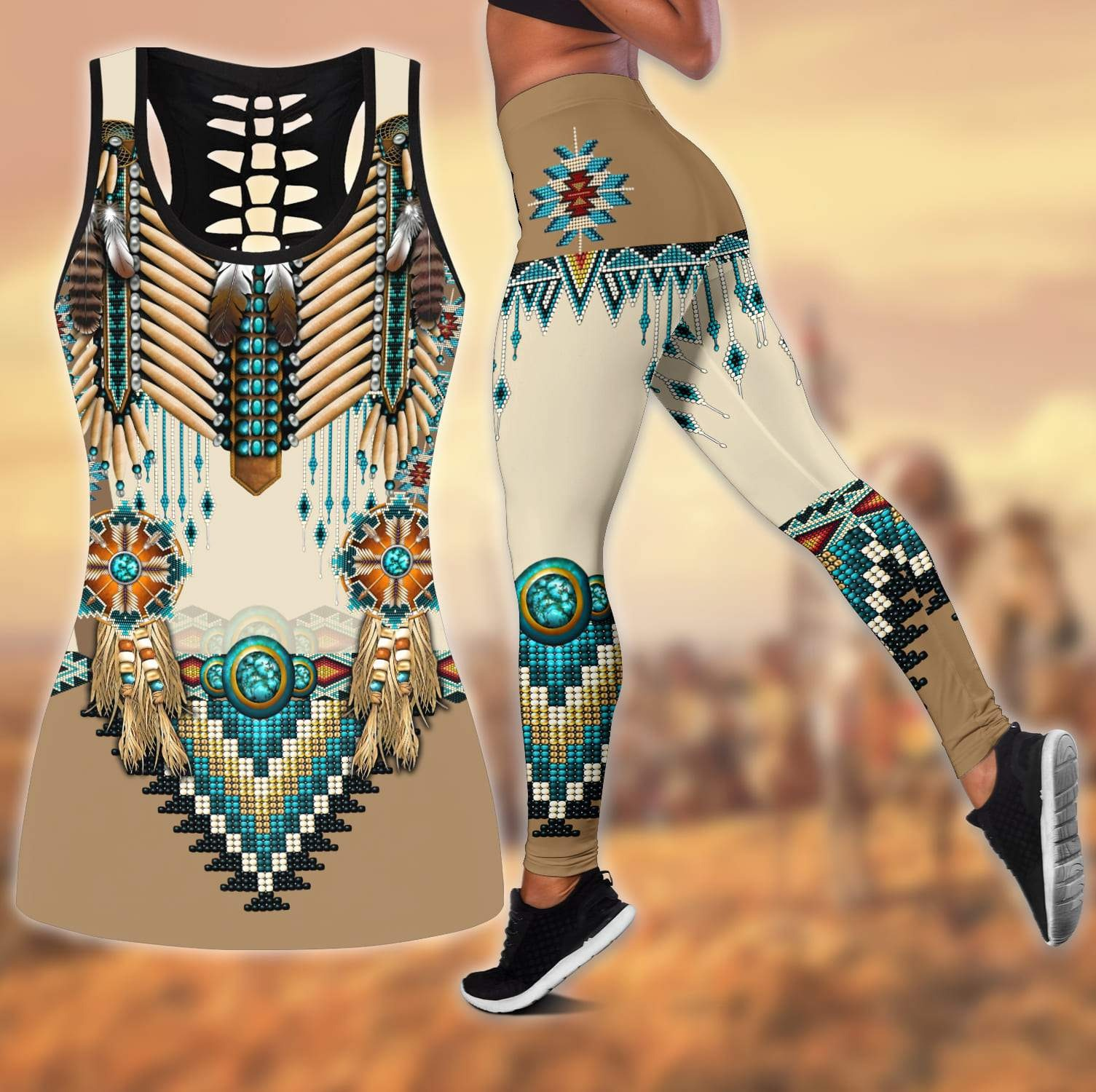 Native american 3D All Over Print Legging And Hollow Tank