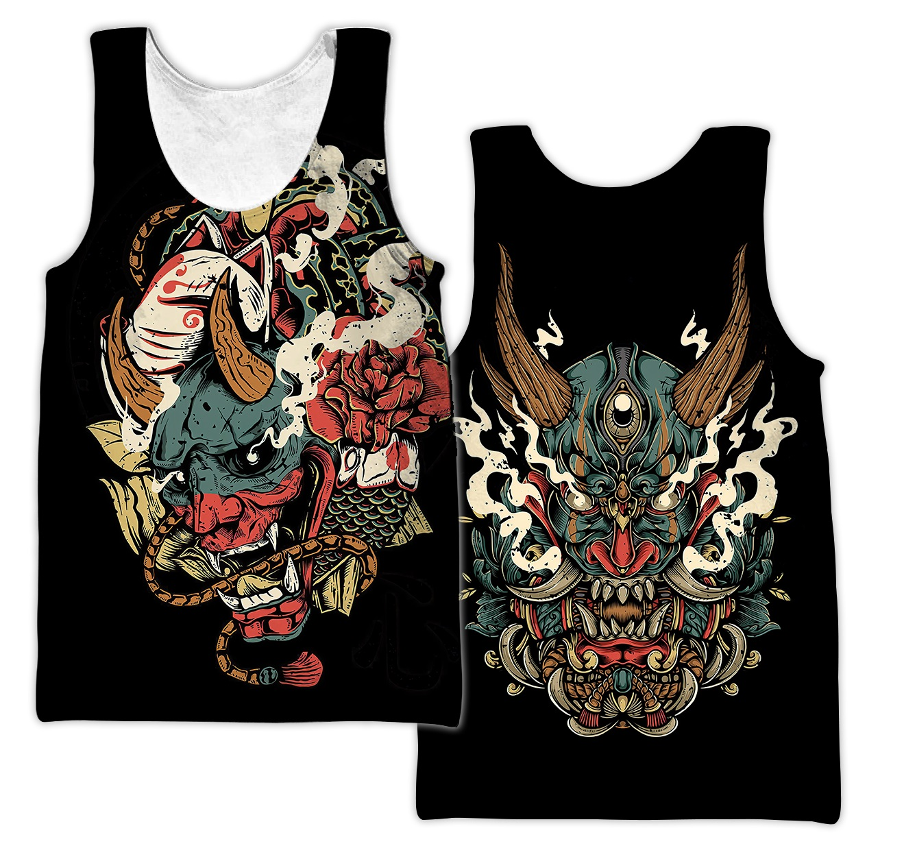 Oni mask tattoo all over printed tank top