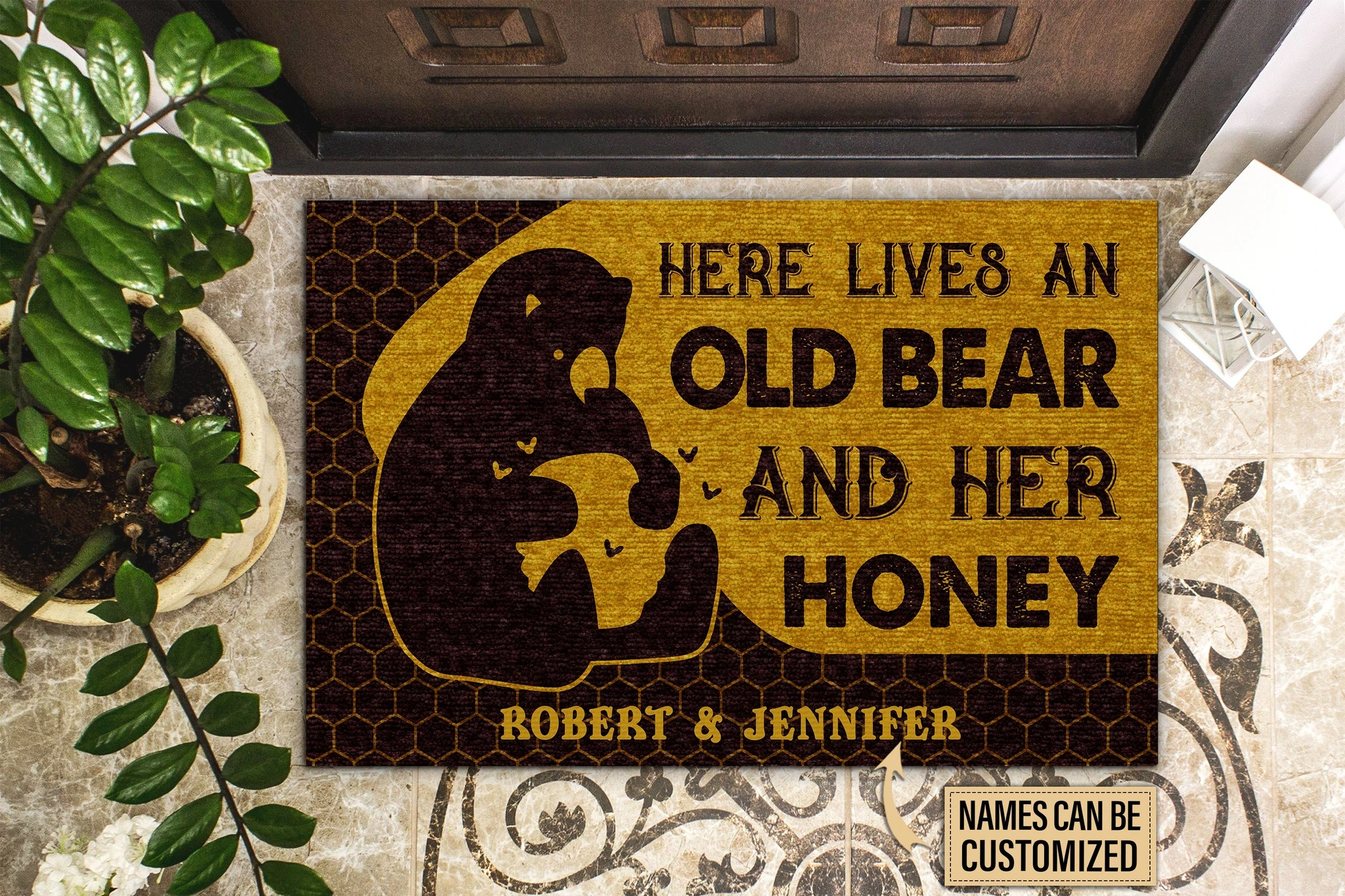 Personalized Bear And Her Honey Live Here Customized Doormat