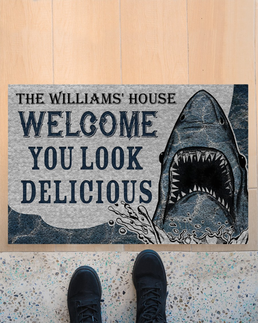 Personalized Custom Name Welcome You Look Delicious Shark Doormat 2